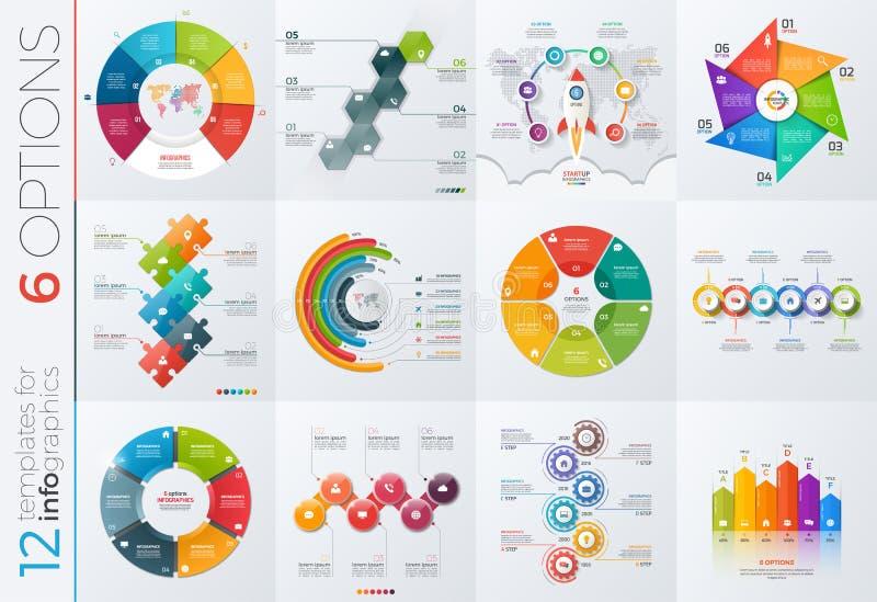 Samling av 12 vektormallar för infographics med 6 alternativ stock illustrationer