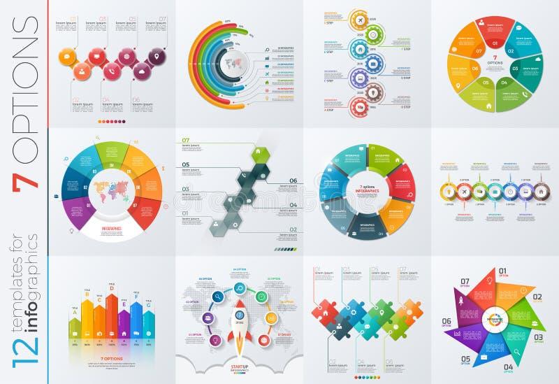 Samling av 12 vektormallar för infographics med 7 alternativ stock illustrationer