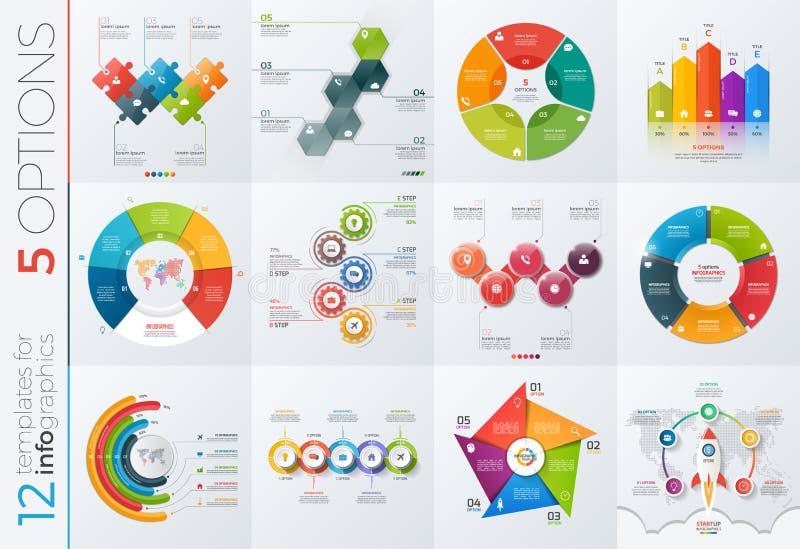 Samling av 12 vektormallar för infographics med 5 alternativ royaltyfri illustrationer