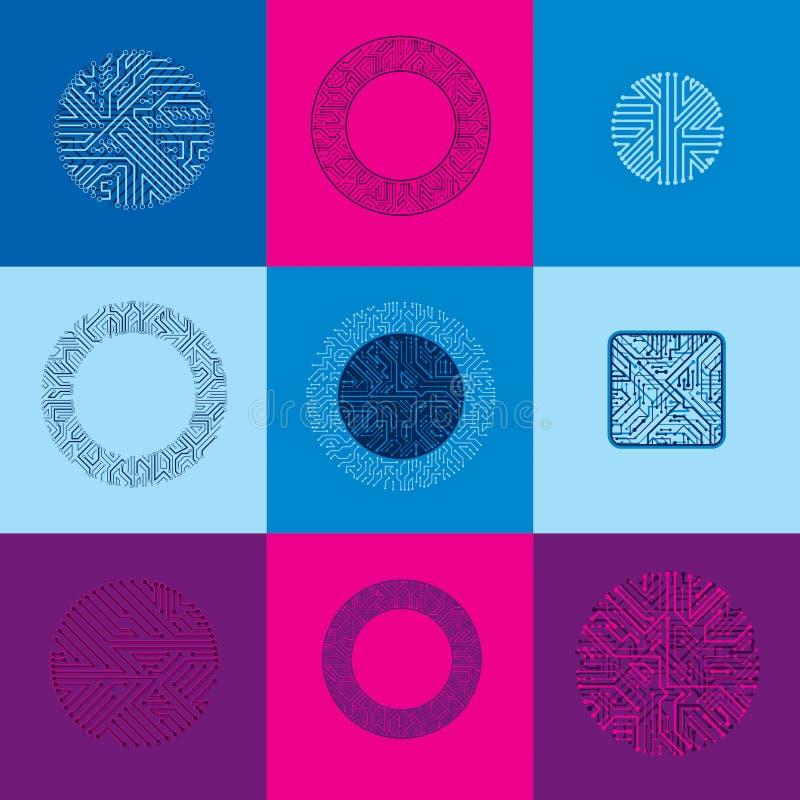 Samling av vektormikrochipsdesigner, CPU Informationscommuni stock illustrationer