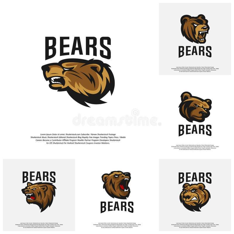 Samling av vektorn för björnlogodesign Modern yrkesmässig grisslybjörnlogo för ett sportlag royaltyfri illustrationer