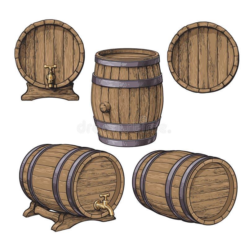 Samling av vin, rom, klassiska trätrummor för öl stock illustrationer