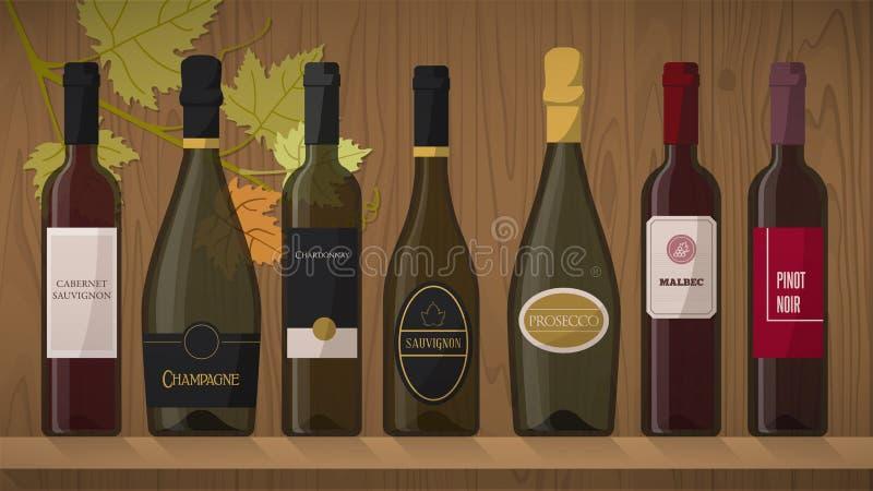 Samling av vinflaskor stock illustrationer