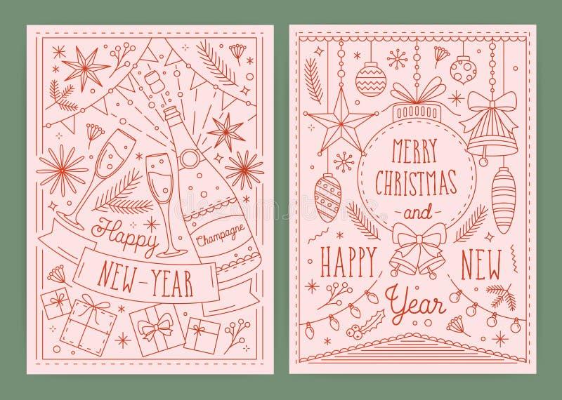 Samling av vykortmallar för jul och för nytt år med festliga garneringar som dras i linjen konststil - klockor royaltyfri illustrationer