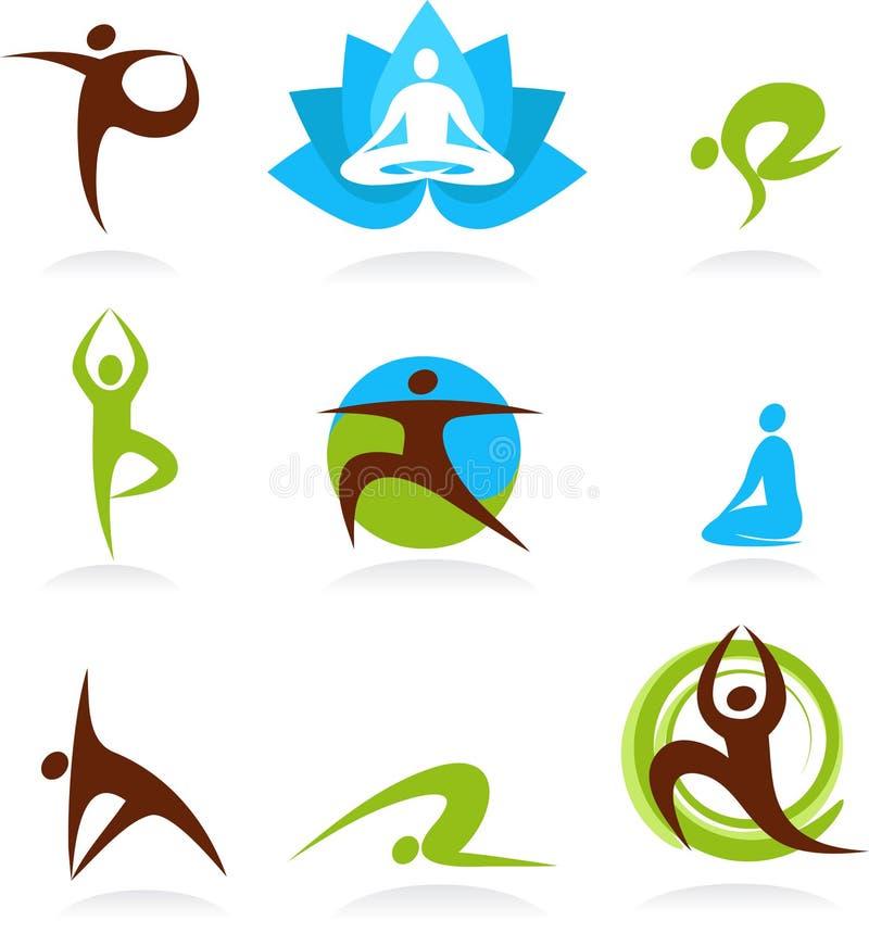 Samling av yogafolklogoer, vektorsymboler stock illustrationer