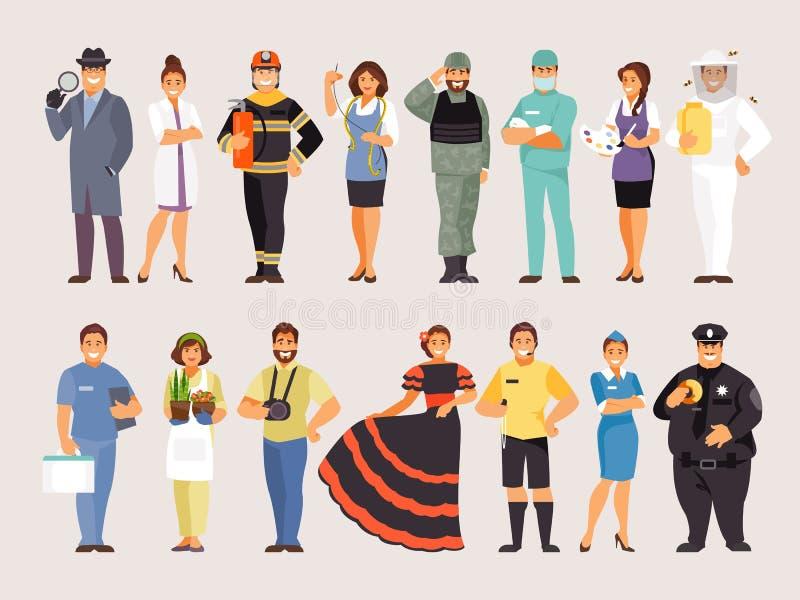 Samling av yrken, del 3 stock illustrationer