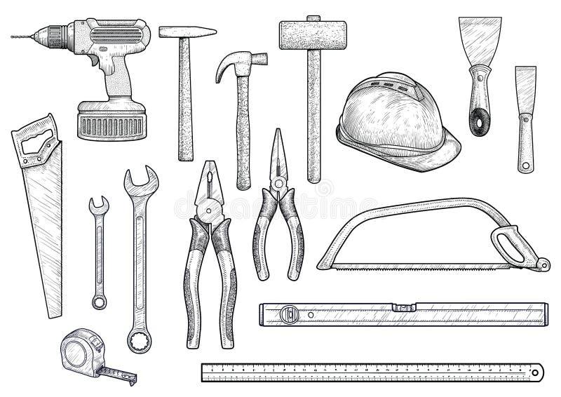 Samling byggnad, reparation, hjälpmedelillustration, teckning, gravyr, linje konst, vektor stock illustrationer