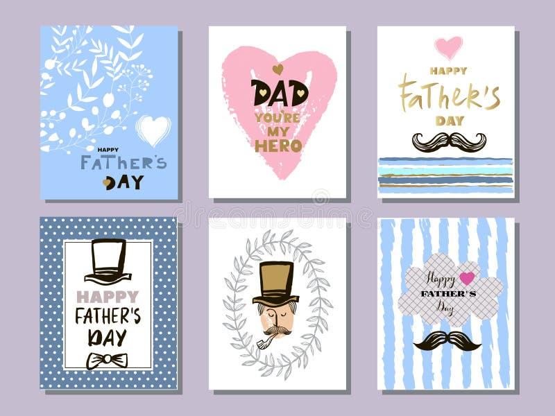 Samling cards1 för dag för fader` s royaltyfri illustrationer