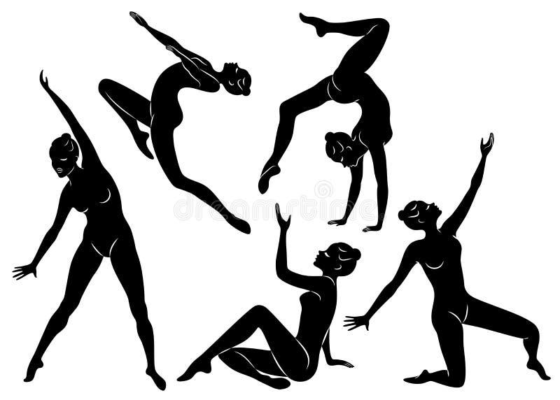 Samling E Flickagymnasten kvinnan ?r b?jlig och behagfull Hon hoppar Grafisk bild royaltyfri illustrationer