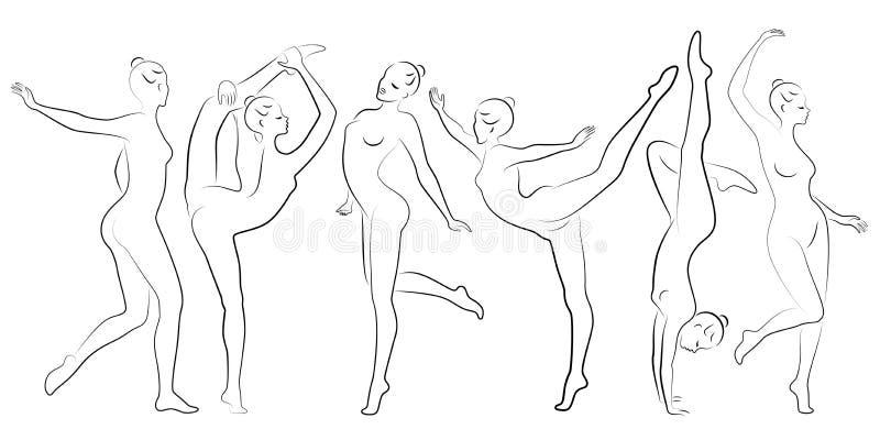 Samling E Flickagymnasten kvinnan ?r b?jlig och behagfull Hon hoppar Grafisk bild vektor vektor illustrationer