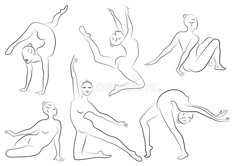 Samling E Flickagymnasten kvinnan ?r b?jlig och behagfull Hon hoppar Grafisk bild vektor royaltyfri illustrationer