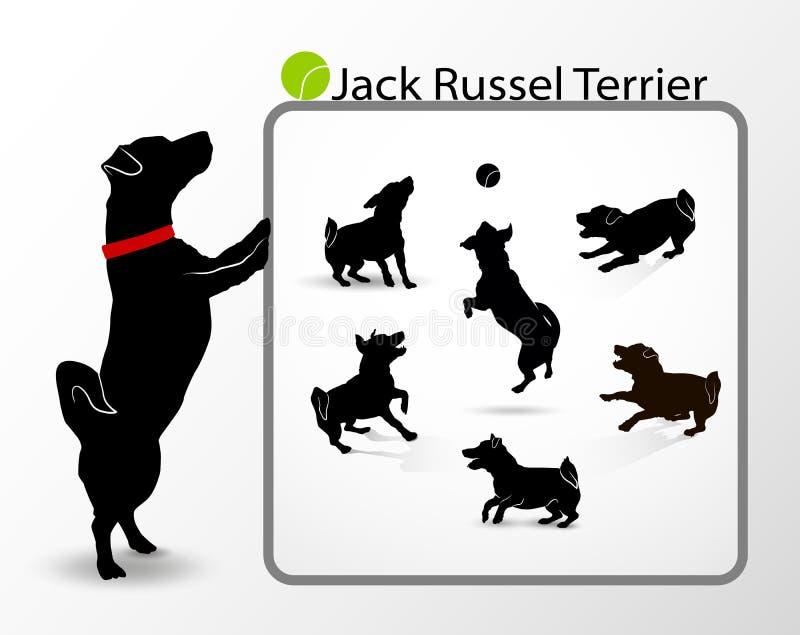 Samling eller uppsättning av konturer av den gulliga lilla spela hundstålarrussell terriern som hoppar och skäller Skämtsamt akti stock illustrationer