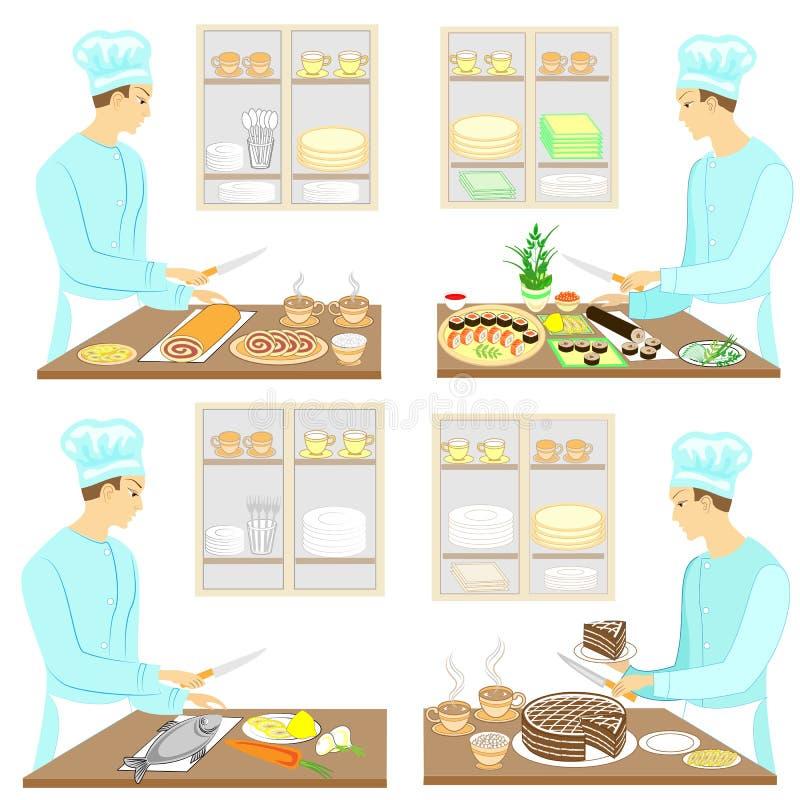 Samling En ung man förbereder mat, sushi, fisken, kakan, te, kaffe Grabben är en yrkesmässig kock g?ra sammandrag f?r knappf?rger stock illustrationer