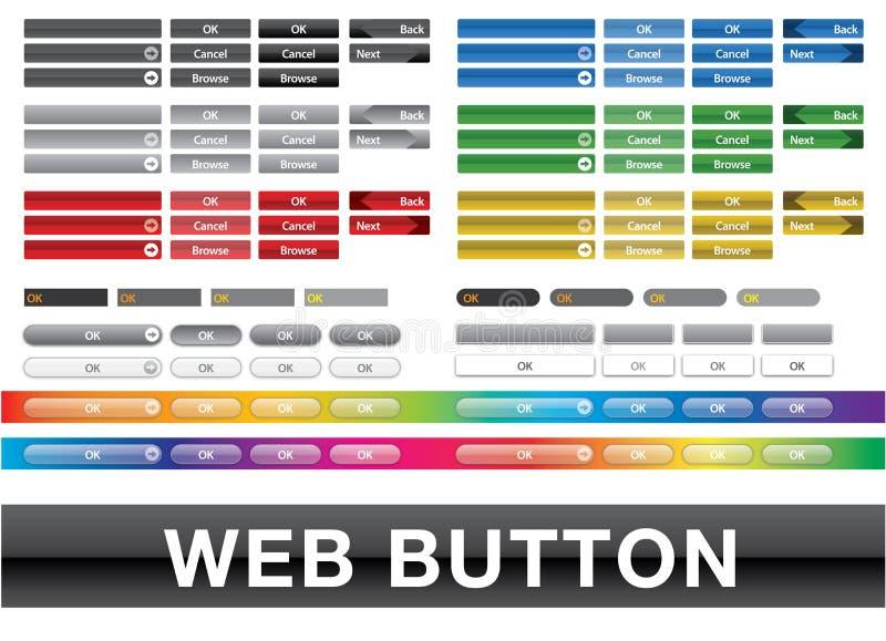 Samling färgad knapprengöringsdukanvändargränssnitt royaltyfri illustrationer