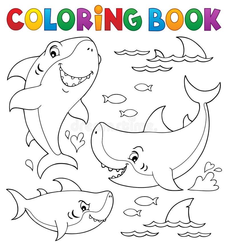Samling 1 för ämne för haj för färgläggningbok vektor illustrationer