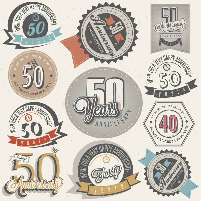 Samling för årsdag för tappningstil 50. stock illustrationer