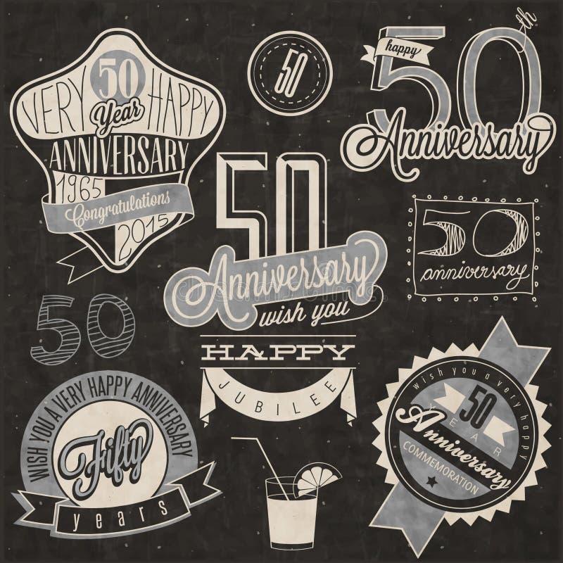 Samling för årsdag för tappningstil 50 vektor illustrationer