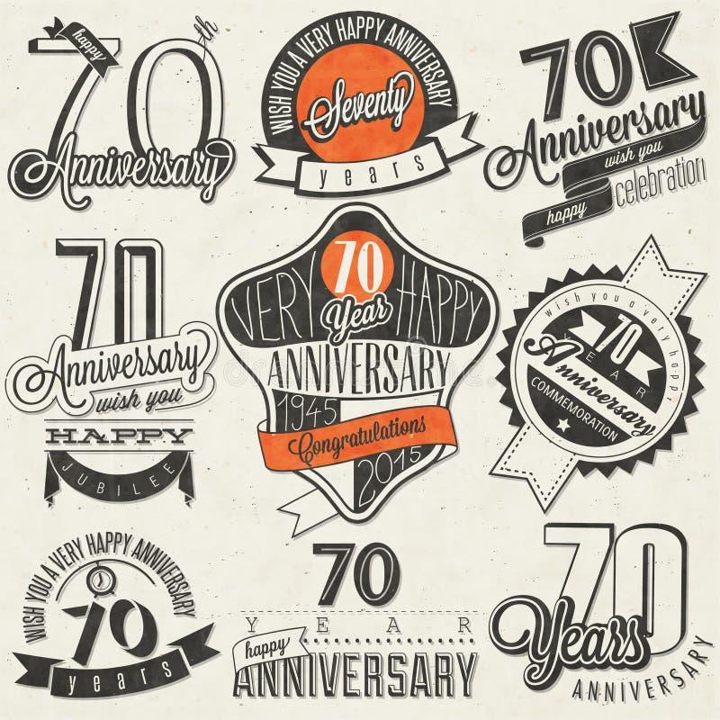 Samling för årsdag för tappningstil sjuttio stock illustrationer