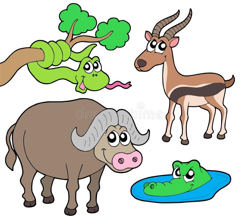 samling för 2 afrikansk djur vektor illustrationer