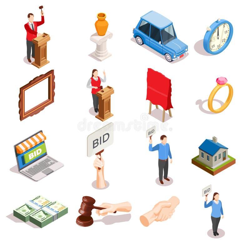 Samling för auktionobjektsymboler royaltyfri illustrationer