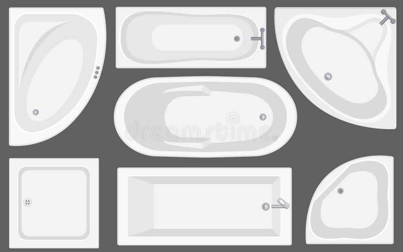 Samling för bästa sikt för badkar Vektorillustration i plan stil royaltyfri illustrationer