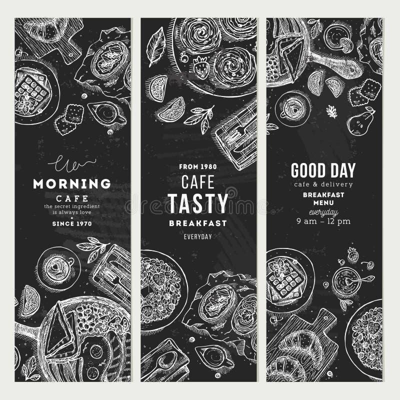 Samling för baner för svart tavla för frukost vertikal Olik matbakgrund Inristad stilillustration också vektor för coreldrawillus stock illustrationer