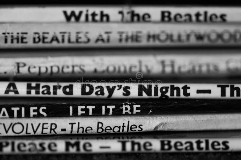 Samling för Beatles vinylrekord royaltyfri foto