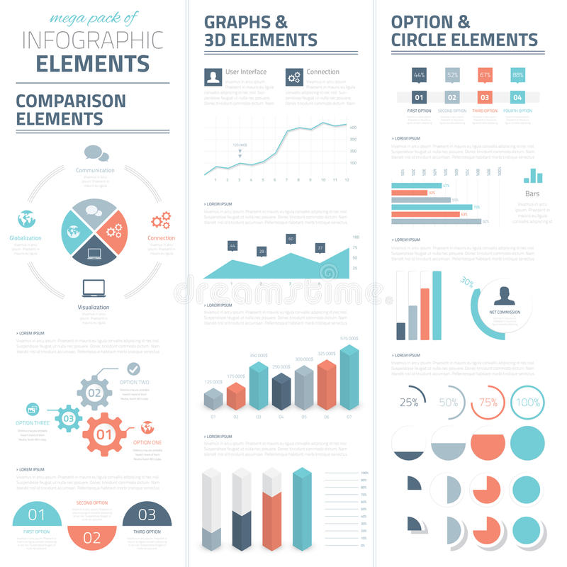 Samling för beståndsdelar för Infographic affärsvektor vektor illustrationer