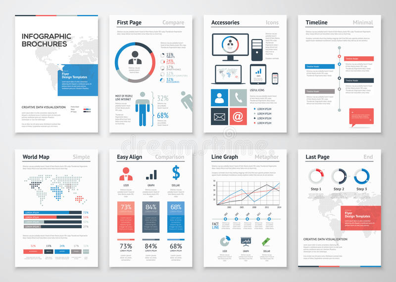 Samling för beståndsdelar för Infographic broschyrvektor för affär vektor illustrationer