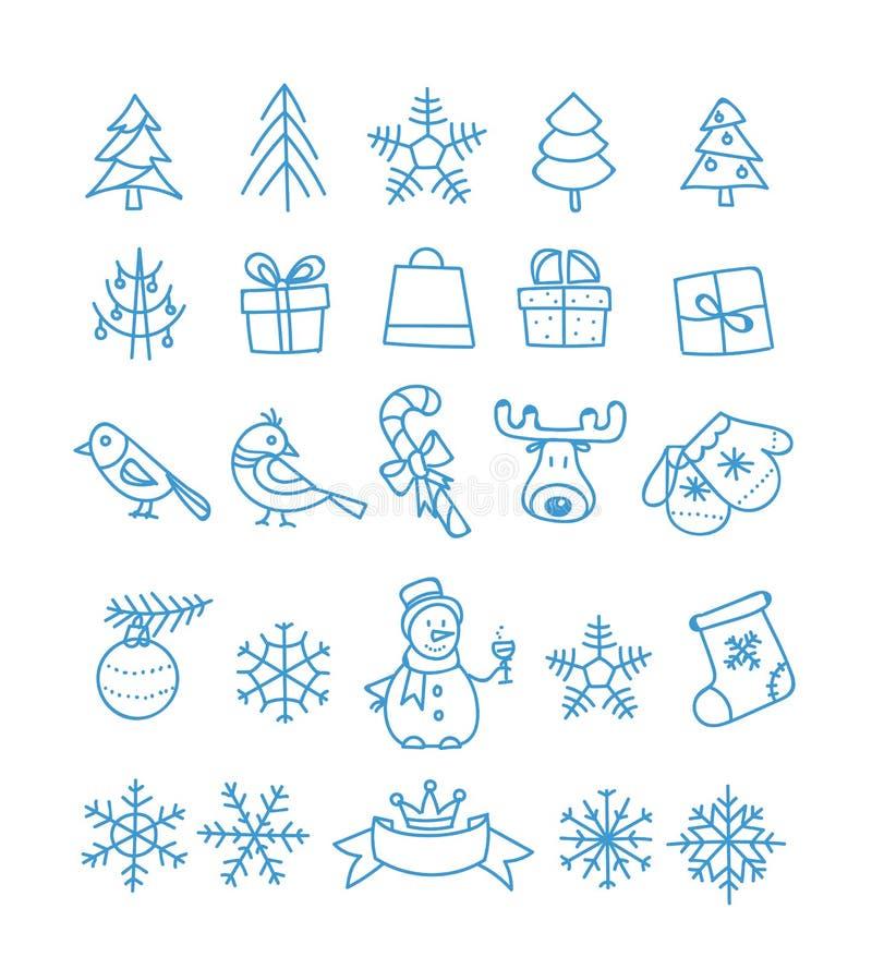 Samling för beståndsdelar för julsäsongvektor stock illustrationer