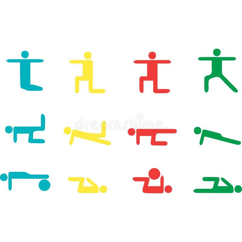 Samling för beståndsdelar för grafisk design för yogavektor royaltyfri illustrationer