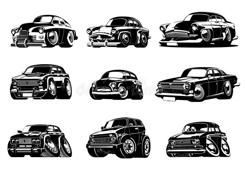Samling för bilar för vektortecknad film retro royaltyfri illustrationer