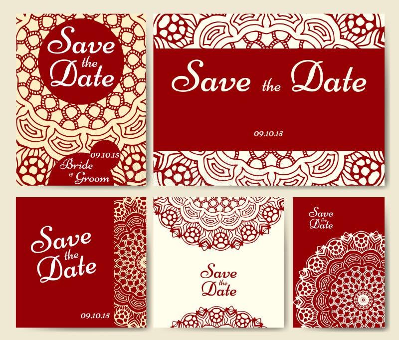 Samling för bröllopkort med mandalaen Mall av inbjudankortet Dekorativ hälsninginvitaiondesign med tappningislam, arabiska stock illustrationer