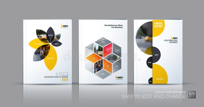 Samling för broschyrmallorientering, räkningsdesignårsrapport, stock illustrationer