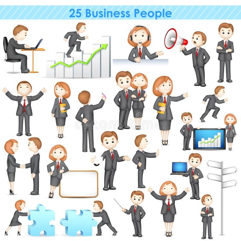 samling för Businesspeople 3d royaltyfri illustrationer