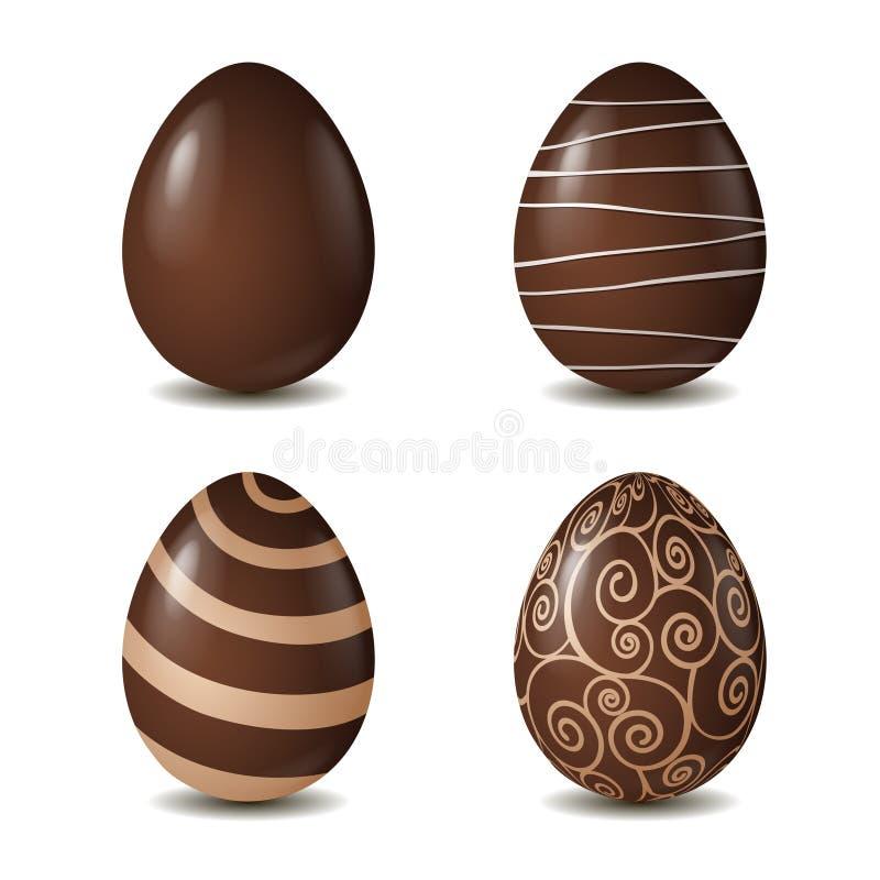Samling för chokladägg på vit stock illustrationer
