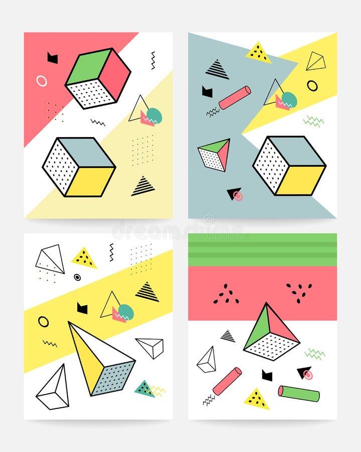 Samling för design för Memphis stilkort av färgrika mallar med geometriska former, modeller med moderiktigt Memphis mode royaltyfri illustrationer