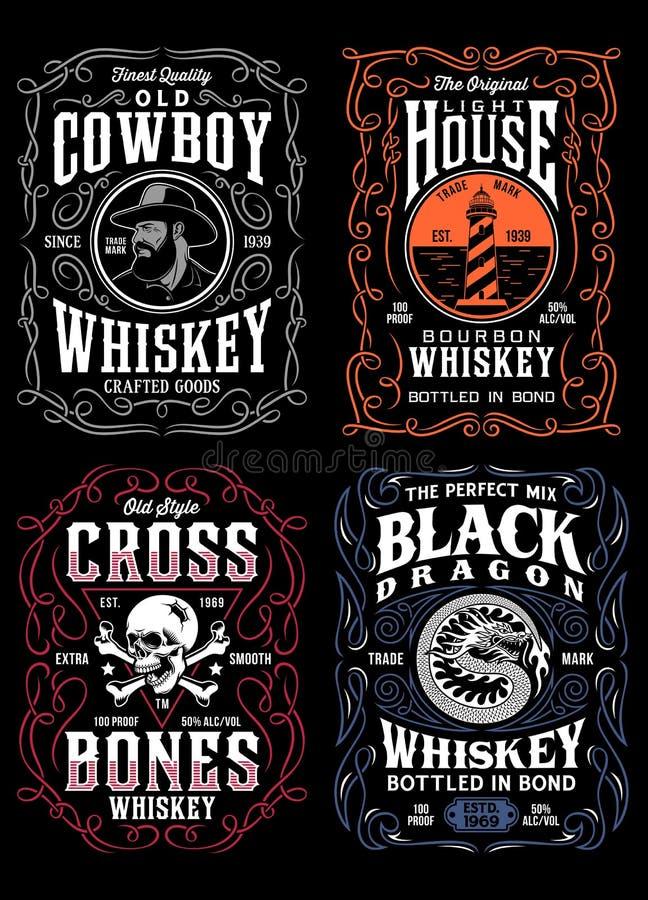 Samling för diagram för T-tröja för tappningwhiskyetikett stock illustrationer