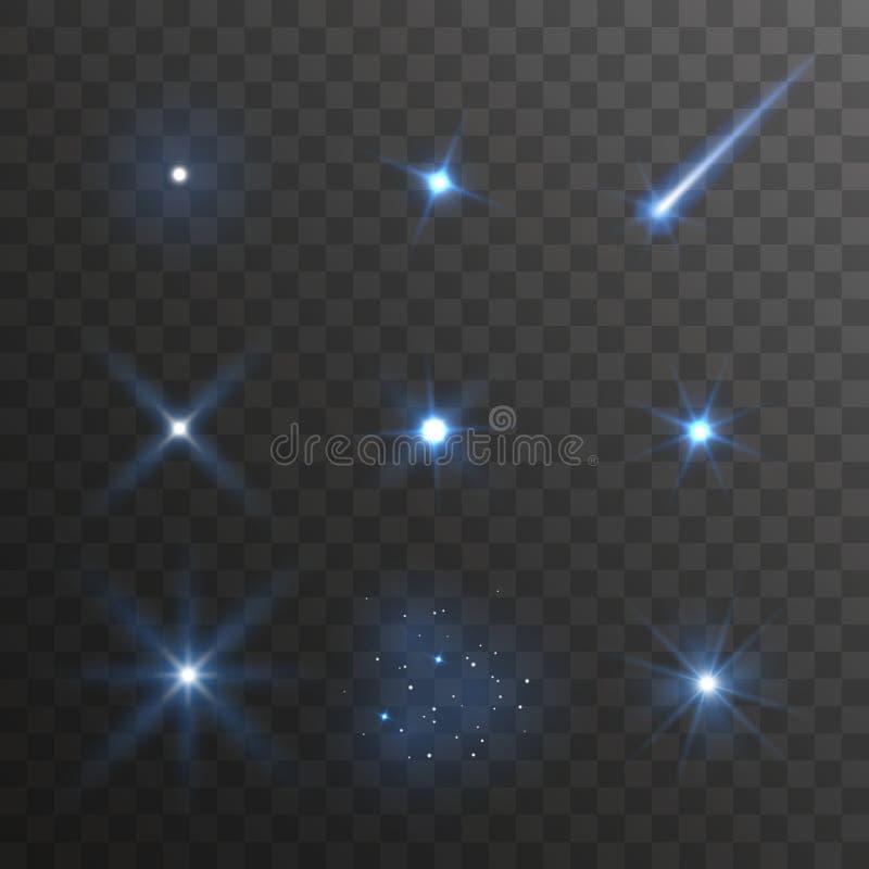 Samling för effekt för ljus för blå stjärna för vektor som isoleras på mörk bakgrund royaltyfria foton