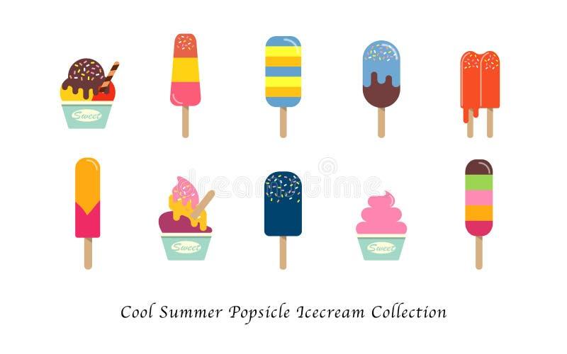 Samling för efterrätt för kall sommarisglassicecream en söt färgrik stock illustrationer