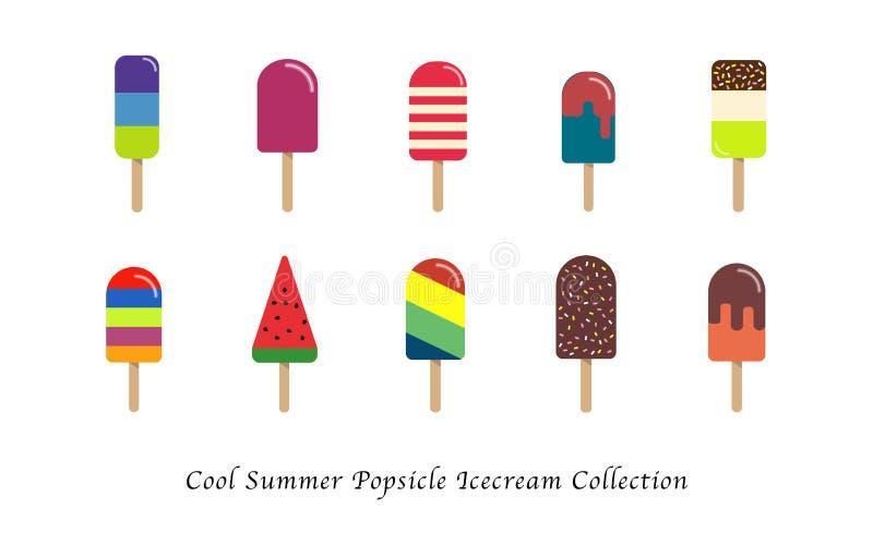 Samling för efterrätt för kall sommarisglassicecream en söt färgrik vektor illustrationer