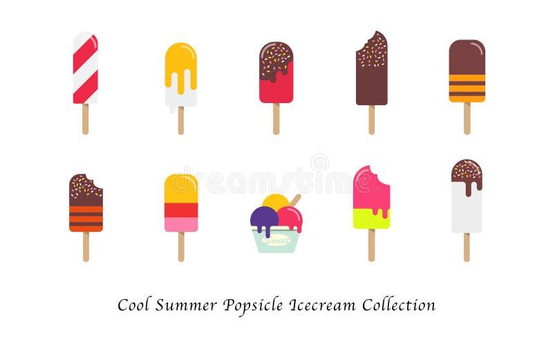 Samling för efterrätt för kall sommarisglassicecream söt färgrik royaltyfri illustrationer