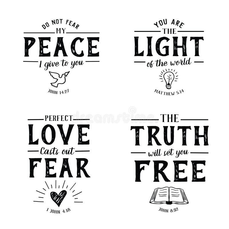 Samling för emblem för Christian Bible Verse Hand bokstäverSkriften vektor illustrationer