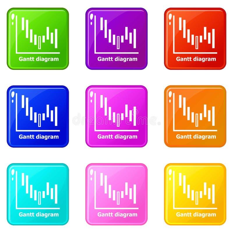 Samling för färg för uppsättning 9 för Gantt diagramsymboler vektor illustrationer