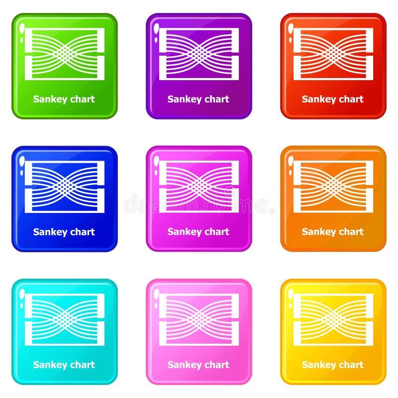 Samling för färg för uppsättning 9 för Sankey diagramsymboler vektor illustrationer