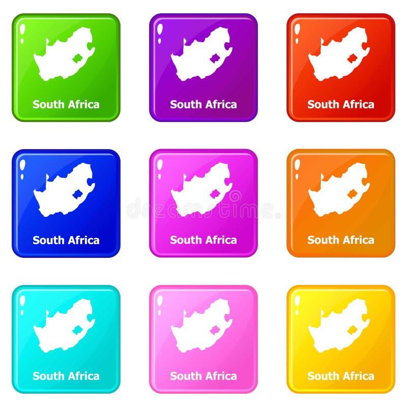 Samling för färg för uppsättning 9 för Sydafrika översiktssymboler vektor illustrationer