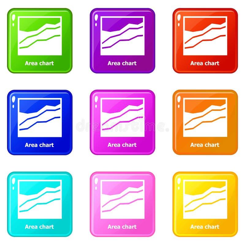 Samling för färg för uppsättning 9 för symboler för områdesdiagram royaltyfri illustrationer