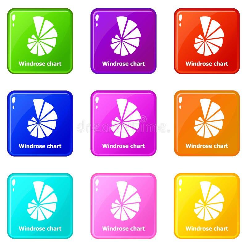 Samling för färg för uppsättning 9 för Windrose diagramsymboler royaltyfri illustrationer