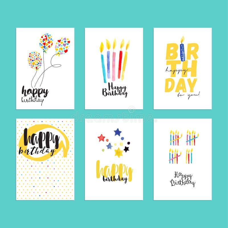 Samling för födelsedaghälsningkort royaltyfri illustrationer