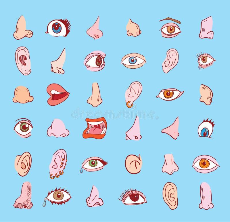 Samling för för ögonnäsöra och mun i olika uttryck rengöringsduk för diagramsymbolsillustration vektor illustrationer